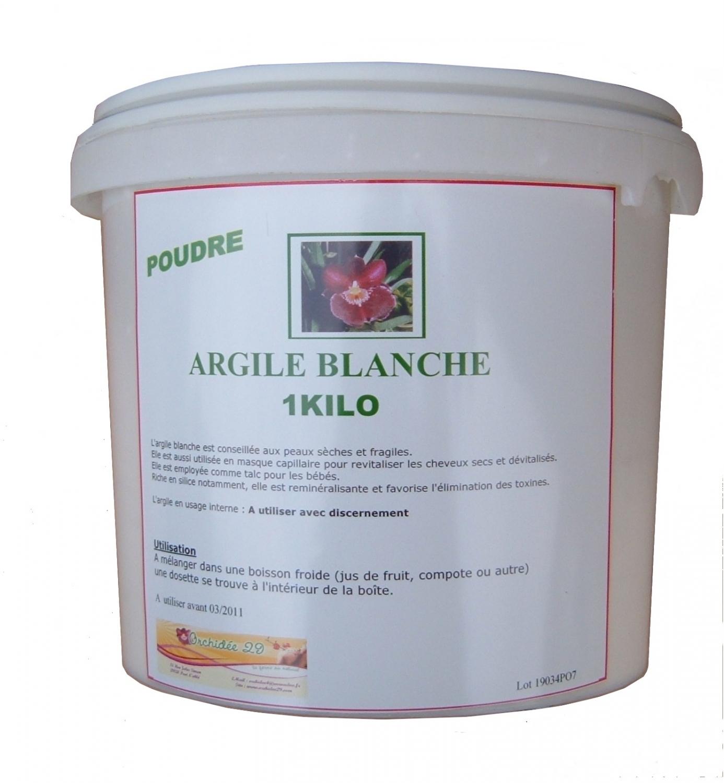 argile blanche en poudre 1 kg