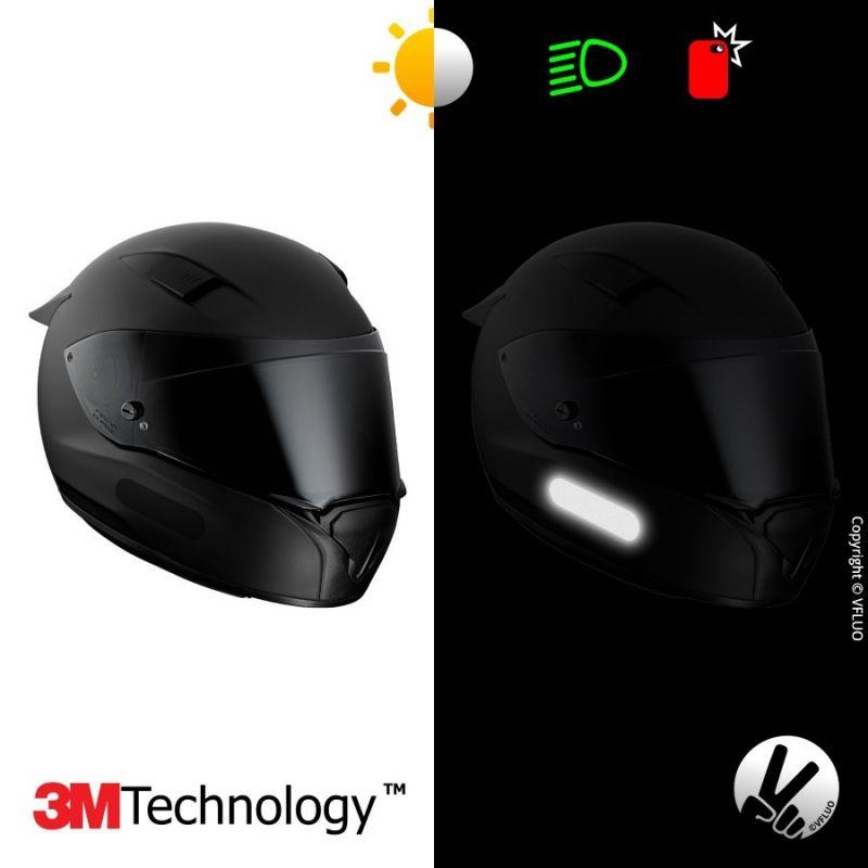 bandes réfléchissantes noires casque moto