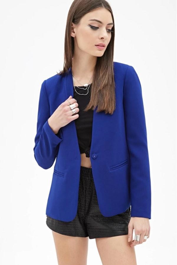blazer bleu electrique femme