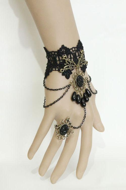 bracelet bague gothique