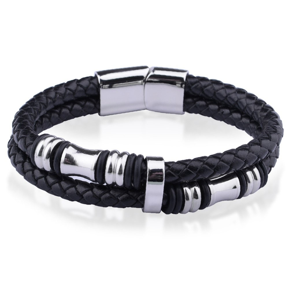 bracelet homme acier cuir