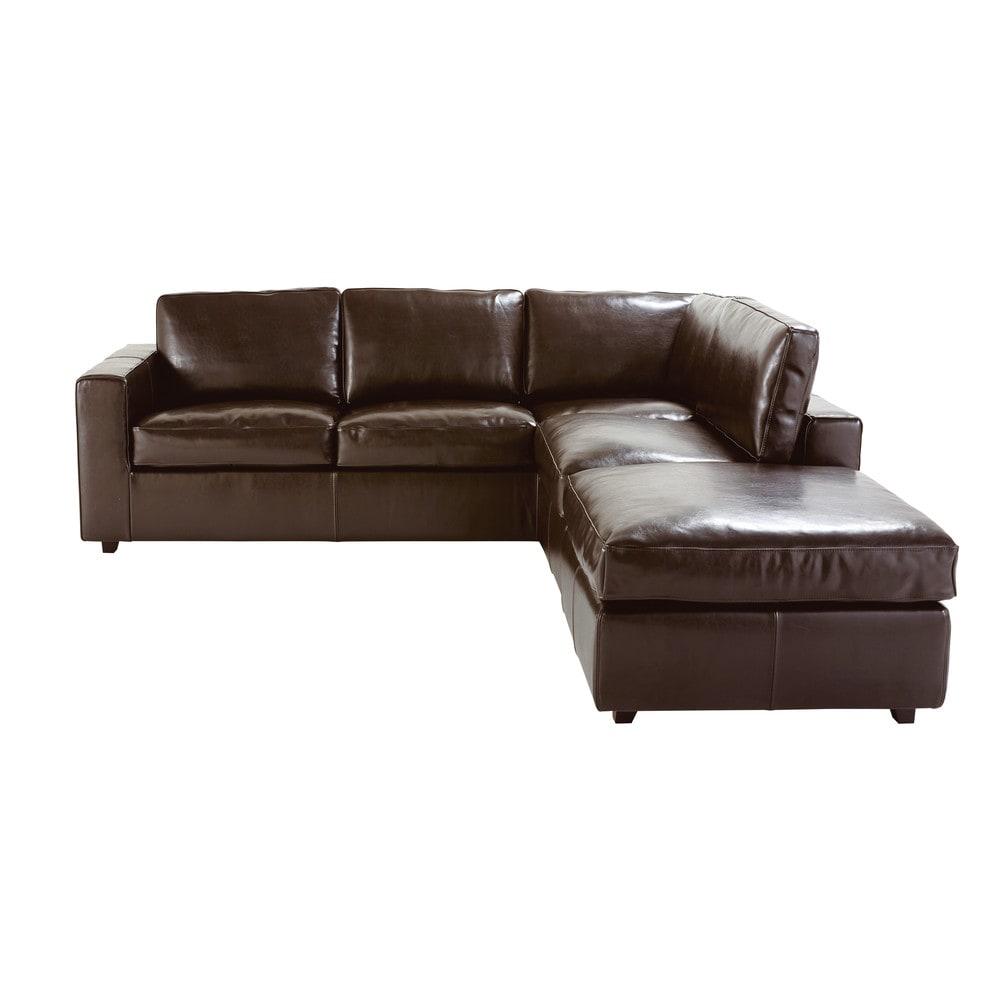 canapé angle cuir marron
