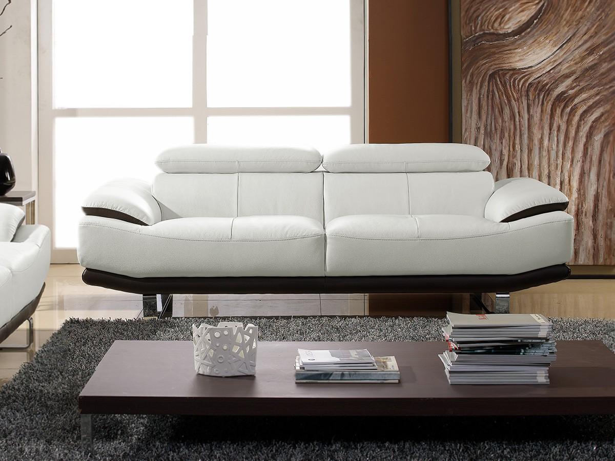 canapé cuir noir et blanc