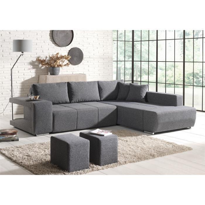 canapé d'angle convertible tissu gris