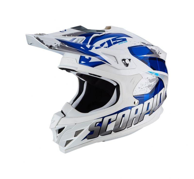 casque cross blanc et bleu