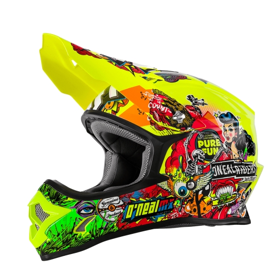casque cross fluo