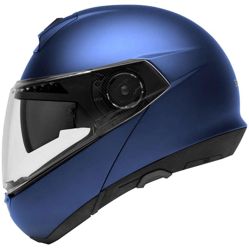 casque de moto bleu