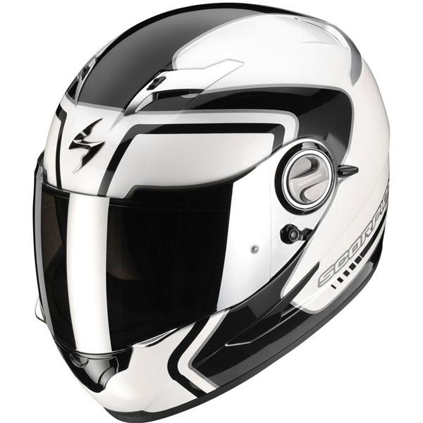 casque moto noir et blanc