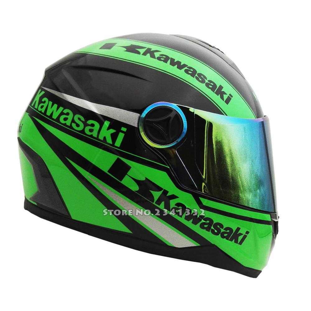 casque moto vert kawasaki