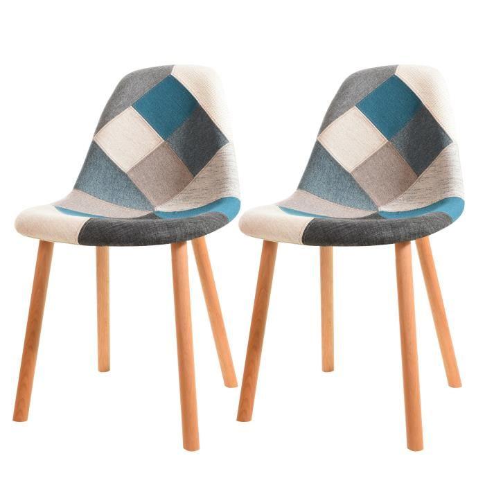 chaise patchwork bleu