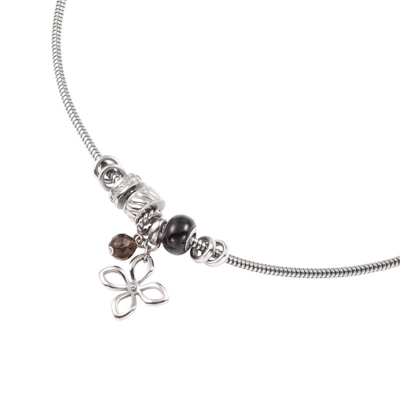 collier fossil femme acier